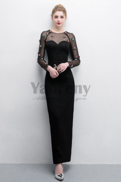Black Sheath Prom dresses With Crystal Fashion Mesh Fabric so-014