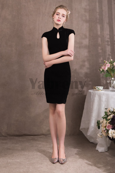 Package buttocks Chinese Style Black Prom dresses so-051