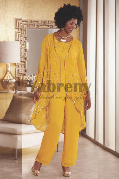 2020 Fashion Gold Yellow Mother of the bride pant suit Beaded Trousers outfit mps-077