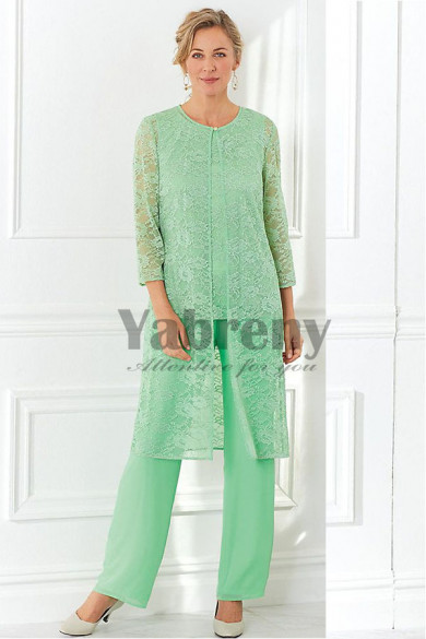 2020 Fashion Green lace Mother of the bride pant suit dress 3-PC mps