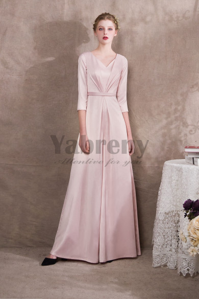 2020 Fashion Pearl Pink Satin Bridal Jumpsuits three quarter sleeve so-031