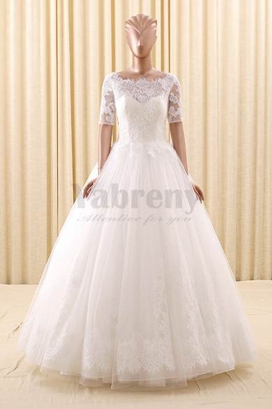 2020 Fashion A-Line Short Sleeves Lace Simple Wedding Gown wd-022