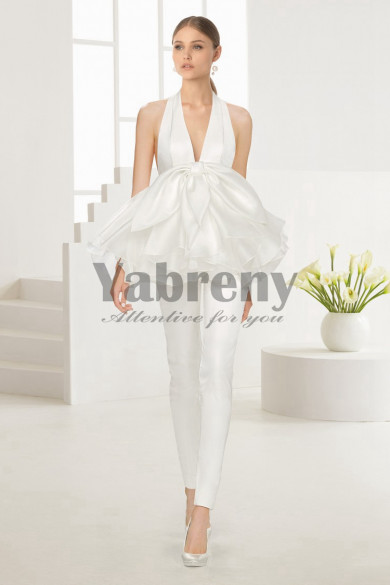2020 New arrival Deep V-neck Bridal Jumpsuit Gown so-106