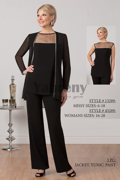 2020 New arrival Elegant mother of the bride pant suits Chiffon Trousers set mps-057