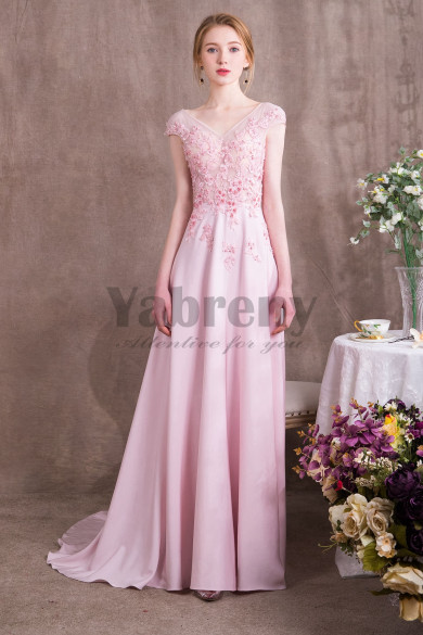 2020 New arrival Pink Chiffon Prom dresses with Hand Beading so-007