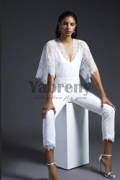 2020 New Style White Lace Bridal Jumpsuit With Batwing sleeve so-147
