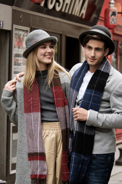 2019 Burgundy Popular Fashion Basulan Wool Plaid Couples Scarves