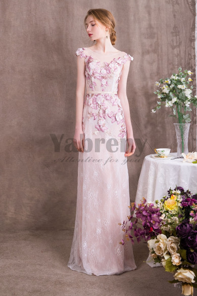 2019 Fashion New Arrival Lovely Pink Lace Prom dresses so-008