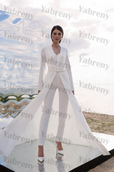 2021 Wedding Jumpsuits Disassemble 2 Kinds Method of Wears Bride Suits Dress so-233