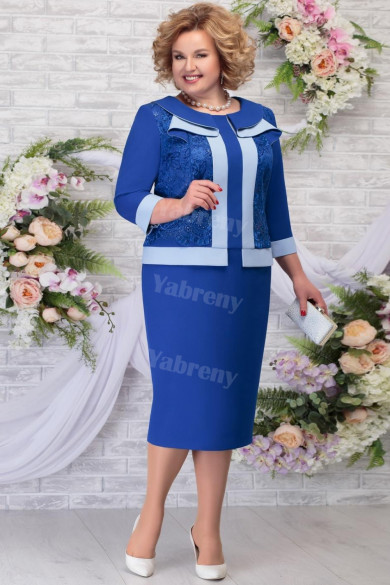 2021 Fashion Plus size Mother of The Groom Dresses, Royal Blue Knee-Length Women