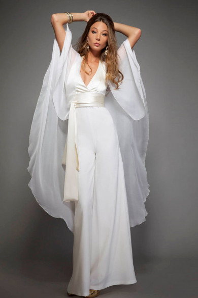 2 pieces Deep V-neck bride jumpsuits with chiffon cape for spring Garden wedding so-210