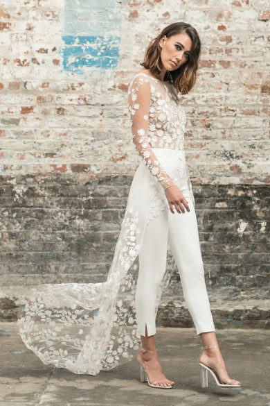Backless Bridal Jumpsuit dress with train Summer beach so-194