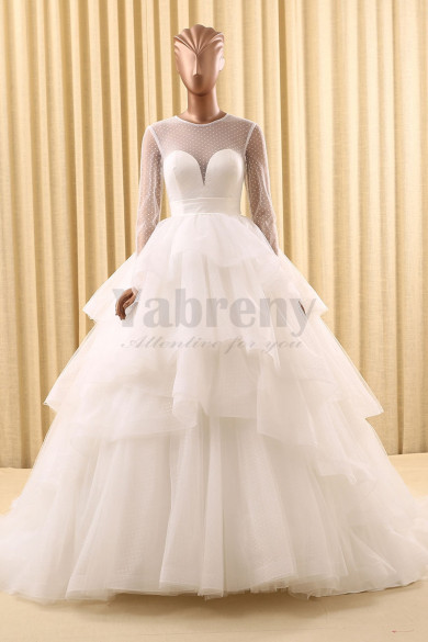 Ball Gown Unique dot Tiered Wedding dresses Long Sleeves wd-016