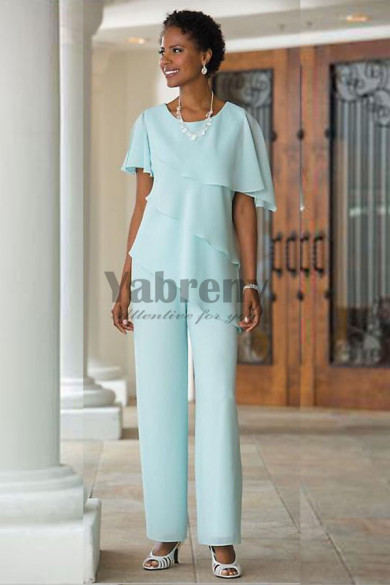 Beach wedding Mother of the btide pant suits  Comfortable Chiffon Trousers mps-072