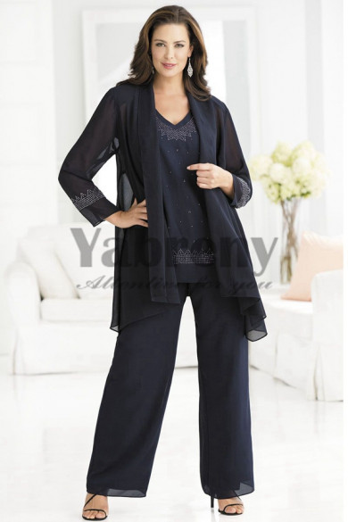 Black 3 piece Loose mother of the dress pant suits mps-195