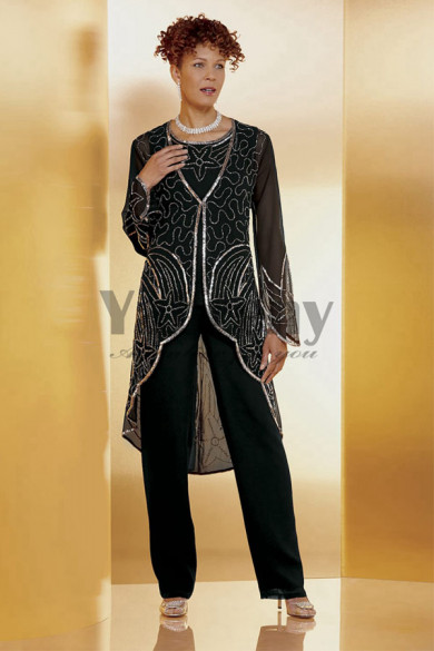 Black Beaded Trousers outfit Mother of the bride pant suits mps-078