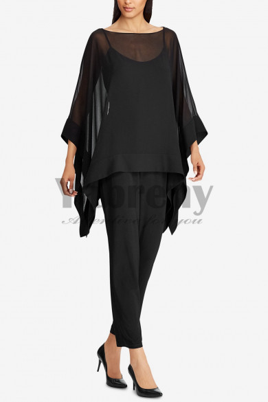 Black Chiffon Overlay Top Women pants suits Evening wear mps-131