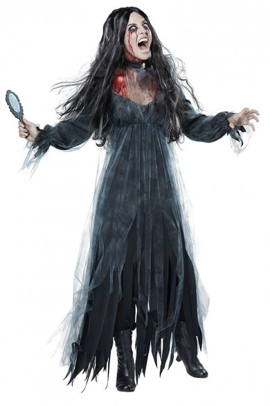Black Lace Ghostly Bride Costume Halloween Party Adult Cosplay Ghost free shipping