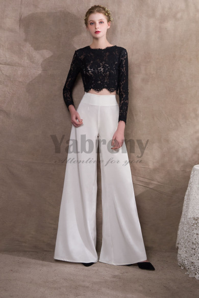 Black Lace top and Chiffon Two Piece Bridal pantsuits pants so-038