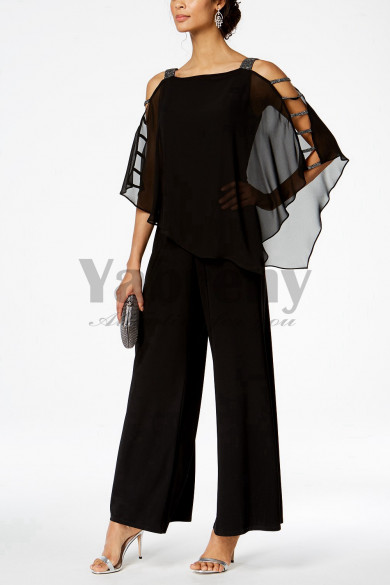 Black Mother of the bride pantsuits Chiffon Two piece outfits mps-010