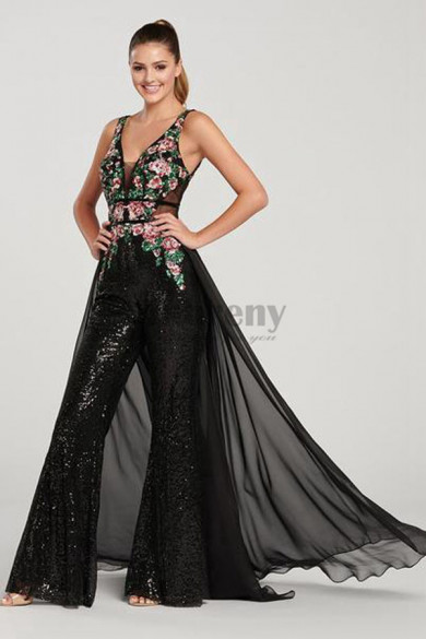 Black Sequins Prom Jumpsuit with skirt Chest Appliques so-161