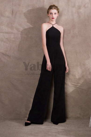 Black Stretch Chiffon Jumpsuits Womens special occasion dresses so-039