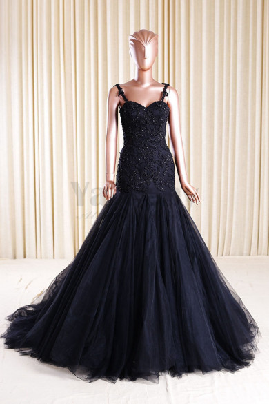 Black Tulle Mermaid Wedding dresses With Appliques  Actual Photo wd-015