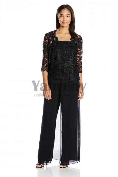 Black Venice lace Outfit Mother of the bride pants suits dresses with jacket mps-051