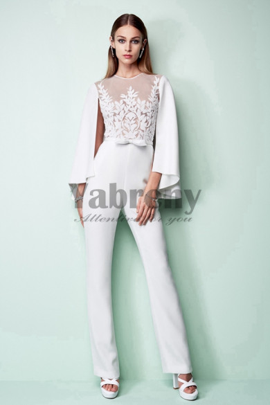 Bridal Jumpsuit With Cape Wedding pants dress so-085