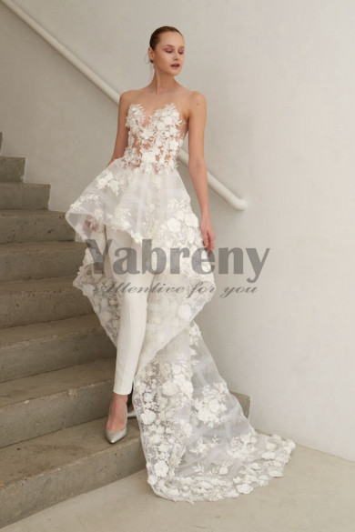Bridal Jumpsuit With Train Organza Flowers Wedding pants dresses so-105