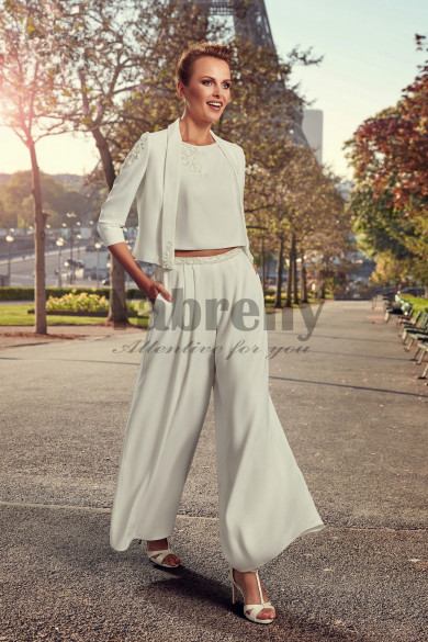 Bridal Pantsuits Modern Wedding dresses Hand beaded Wide Leg Pants so-109