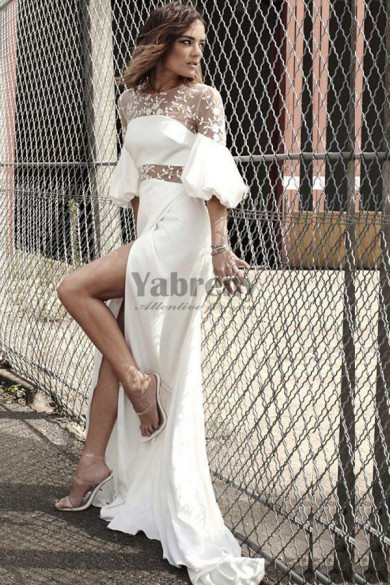 Brush Train Wedding dresses illusion neckline floral with flowing sleeves so-198