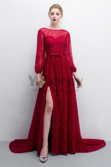 Burgundy Hand Beading Court Train Prom dresses With Puff sleeve so-011