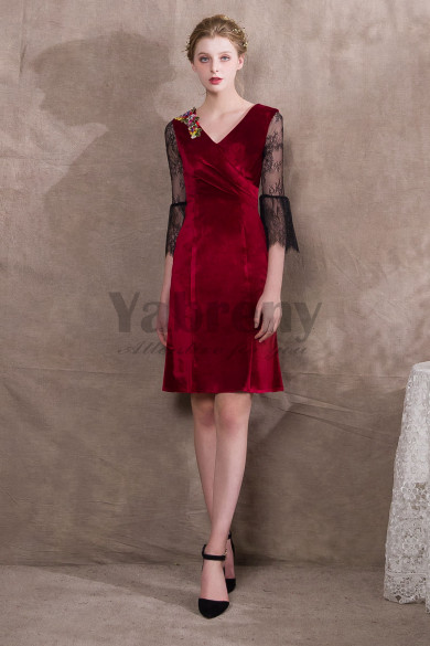 Burgundy Velvet Knee-Length Prom dresses Lace Sleeve so-024