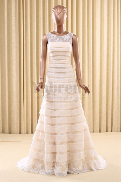 Champagne A-Line Tiered Sweep Train Wedding dresses