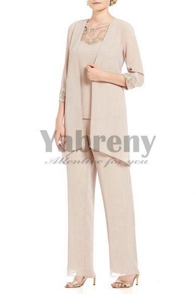 Champagne Chiffon 3 pieces Elastic waist Spring pant suits for mother mps-128
