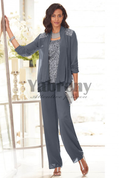 Charcoal Mother of the bride pant suits High-end Chiffon Trouser outfits mps-106