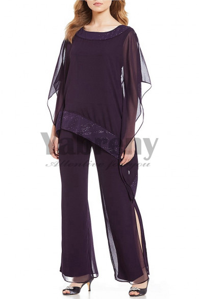 Chiffon Mother of the bride dresses pant suits Elastic waist Sumer Beach wedding mps-119