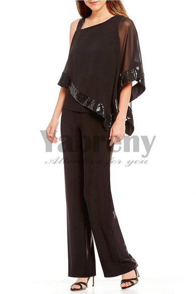 Chocolate Asymmetrical Overlay Top Pant suits for Mother of groom outfit mps-132
