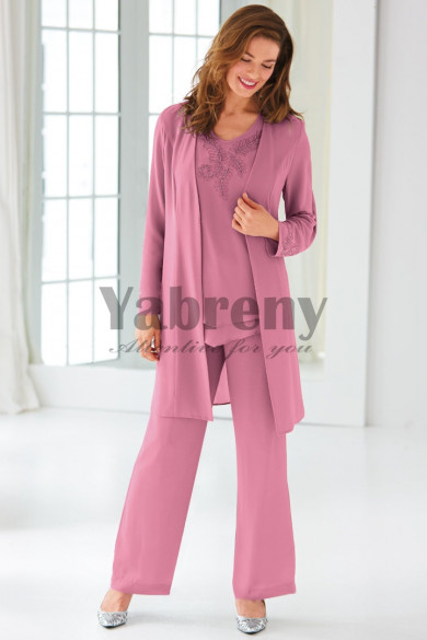 Classic Mother of the bride pantsuit Beaded Chiffon Trouser set Dark Pink mps-098