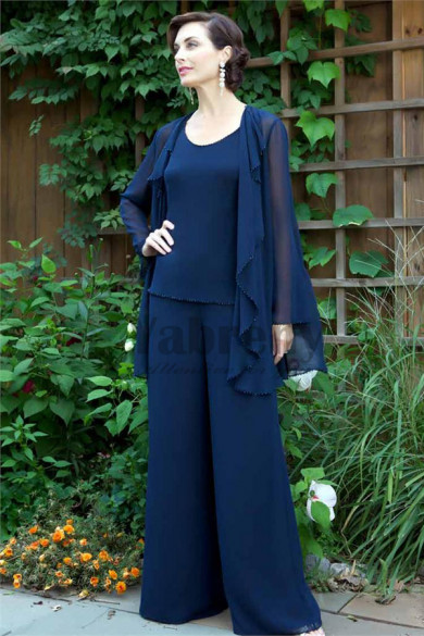 Dark Blue Chiffon mother of the bride pants suits mother of the groom outfit mps-140