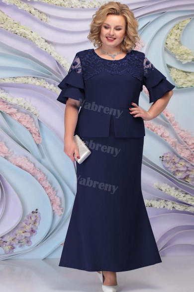 Dark Navy Ankle-Length Plus Size Mother of the bride Dresses mps-454-1
