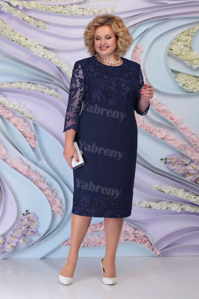Dark Navy Lace Knee-Length Mother of the Bride Dresses Plus Size Women