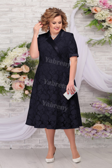 Dark Navy Lace Mother of the Groom Dresses Mid-Calf Plus Size Women