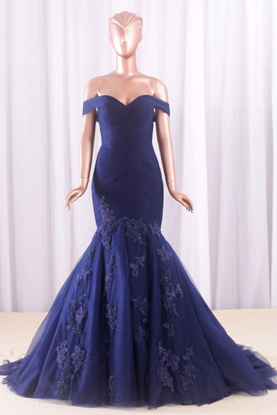 Dark Navy lace Off-the-shoulder Tailed Wedding dresses With Appliques wd-021-1