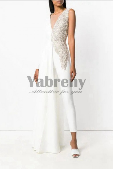 Delicate Hand Beaded Bridal Jumpsuit Angel Wings Asymmetry Spring wedding dresses so-115