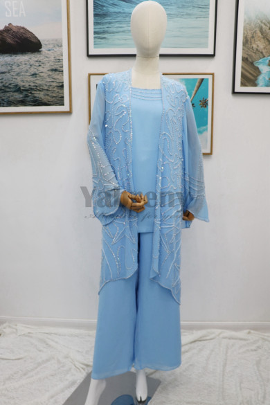 Delicate Hand beaded Mother of the bride pant suits with Jacket Three piece chiffon trousers mps-172