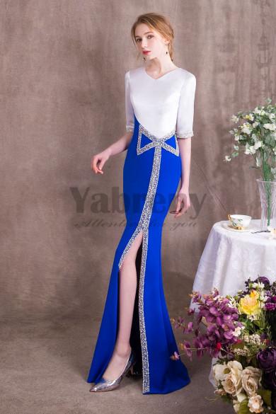Mermaid Prom dresses Royal Blue and white Satin Sexy slit so-009