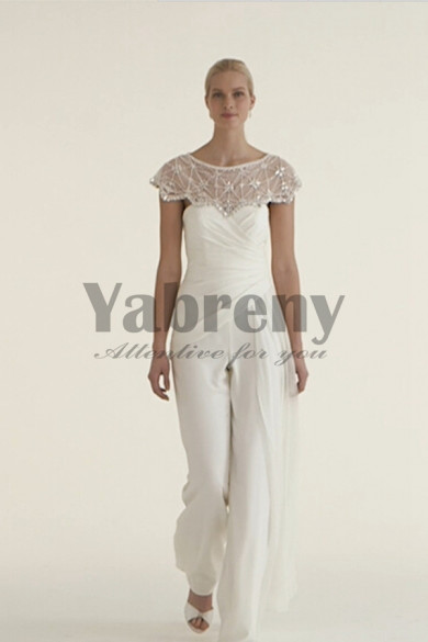 Elegant bridal jumpsuit wedding dresses with delicate hand beaded cape so-057