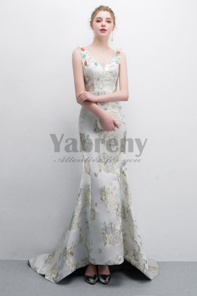 Embroidery Satin Court Train Prom dress With Hand beading so-018